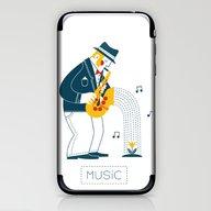 Man Playing The Saxophon… iPhone & iPod Skin