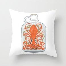 The Kraken in a Bottle Throw Pillow