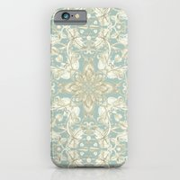 iPhone Cases featuring Soft Sage & Cream hand drawn floral pattern by micklyn
