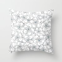 Cherry Blossom Blue - In… Throw Pillow