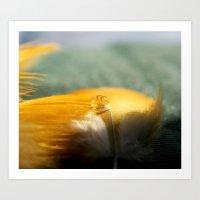 Yellow Feather Drop Art Print