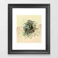 Proud Lion Tangle Framed Art Print