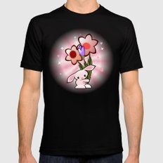 Little Pink Bunny With Flowers SMALL Mens Fitted Tee Black
