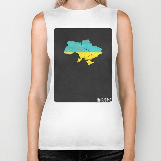 Ukraine Minimalist Vintage Map with Flag Biker Tank