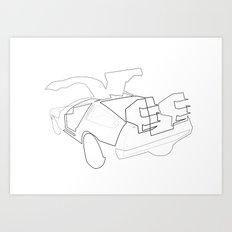One line Back to the Future: The De Lorean Art Print