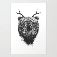 Angry bear with antlers Art Print