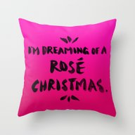 Rosé Christmas Throw Pillow