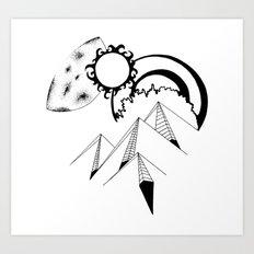 Wanderlust pen and ink drawing Mountains, Moon, Sun, Ocean Waves Art Print