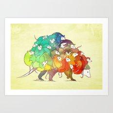 Opossum Rainbow Babies Art Print