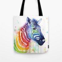 Zebra Rainbow Watercolor Tote Bag