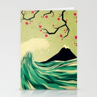 waves Stationery Cards featuring falling in love by Yetiland