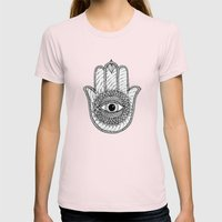Hamsa White Womens Fitted Tee Light Pink SMALL