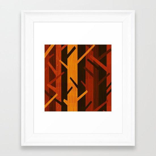 Retro Fall Woods by Friztin Framed Art Print