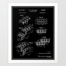 Lego Building Brick Patent - Black Art Print