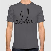 Aloha Hawaii Typography Mens Fitted Tee Asphalt SMALL