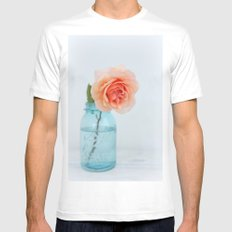 Rose in a Jar White SMALL Mens Fitted Tee