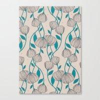 Blue Stem Flowers Canvas Print