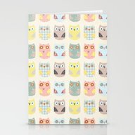 Stationery Cards featuring Owls Pattern by Flying Bathtub