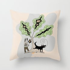 Black Dog and his Rabbit Friend Throw Pillow