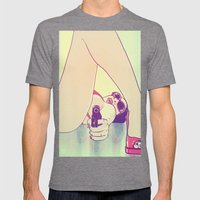 Girl With Gun 2 Mens Fitted Tee Tri-Grey SMALL