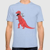 Dinosaur B Forever Mens Fitted Tee Tri-Blue SMALL