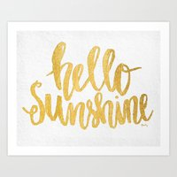 Hello Sunshine Gold and White Art Print