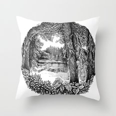 Trees near the river Throw Pillow