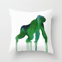 Watercolor : Gorilla Throw Pillow