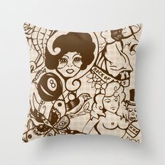 American Traditional Tattoo Collage (Brown) Throw Pillow