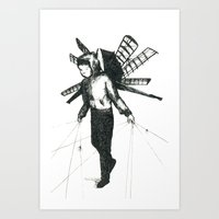 boy draws wings Art Print