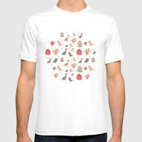 Birds pattern Mens Fitted Tee White SMALL