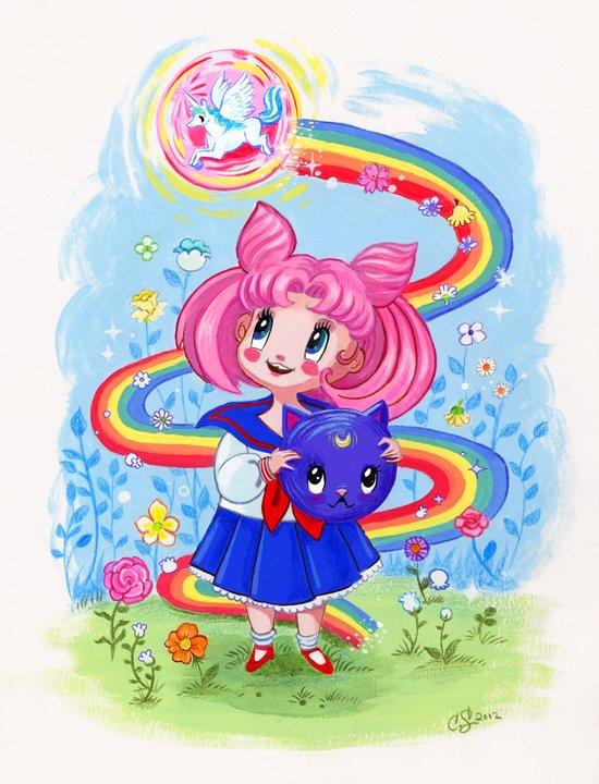 Retro Chibi Moon Art Print