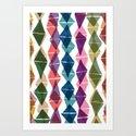 Collage and Digital Diamonds Pattern print Art Print