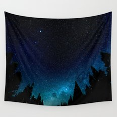 Black Trees Turquoise Milky Way Stars Wall Tapestry