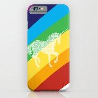 Unicorn on rainbow art iPhone 6 Slim Case