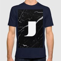 Black Marble - Alphabet J Mens Fitted Tee Navy SMALL
