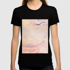 Marble Art V 16 #society6 #decor #fashion #lifestyle Womens Fitted Tee Black SMALL